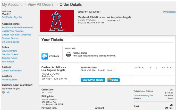 Los Angeles Angels TicketMaster Receipt