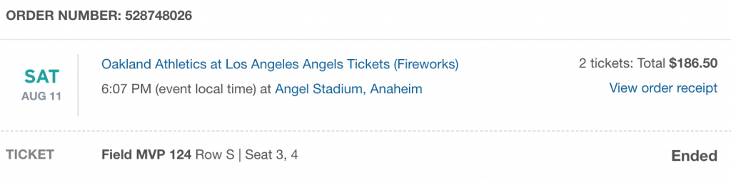 Stubhub LA Angels Ticket Receipt